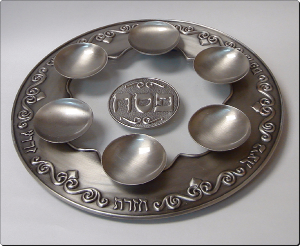 SEDER PLATE GLASS/PEWTER GW723